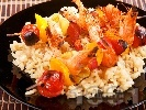 Рецепта Плодово-зеленчукови шишчета със скариди на скара